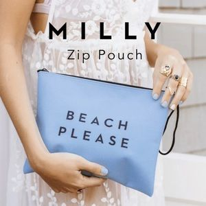 MILLY Zip Pouch Beach Please Wristlet Travel Bag